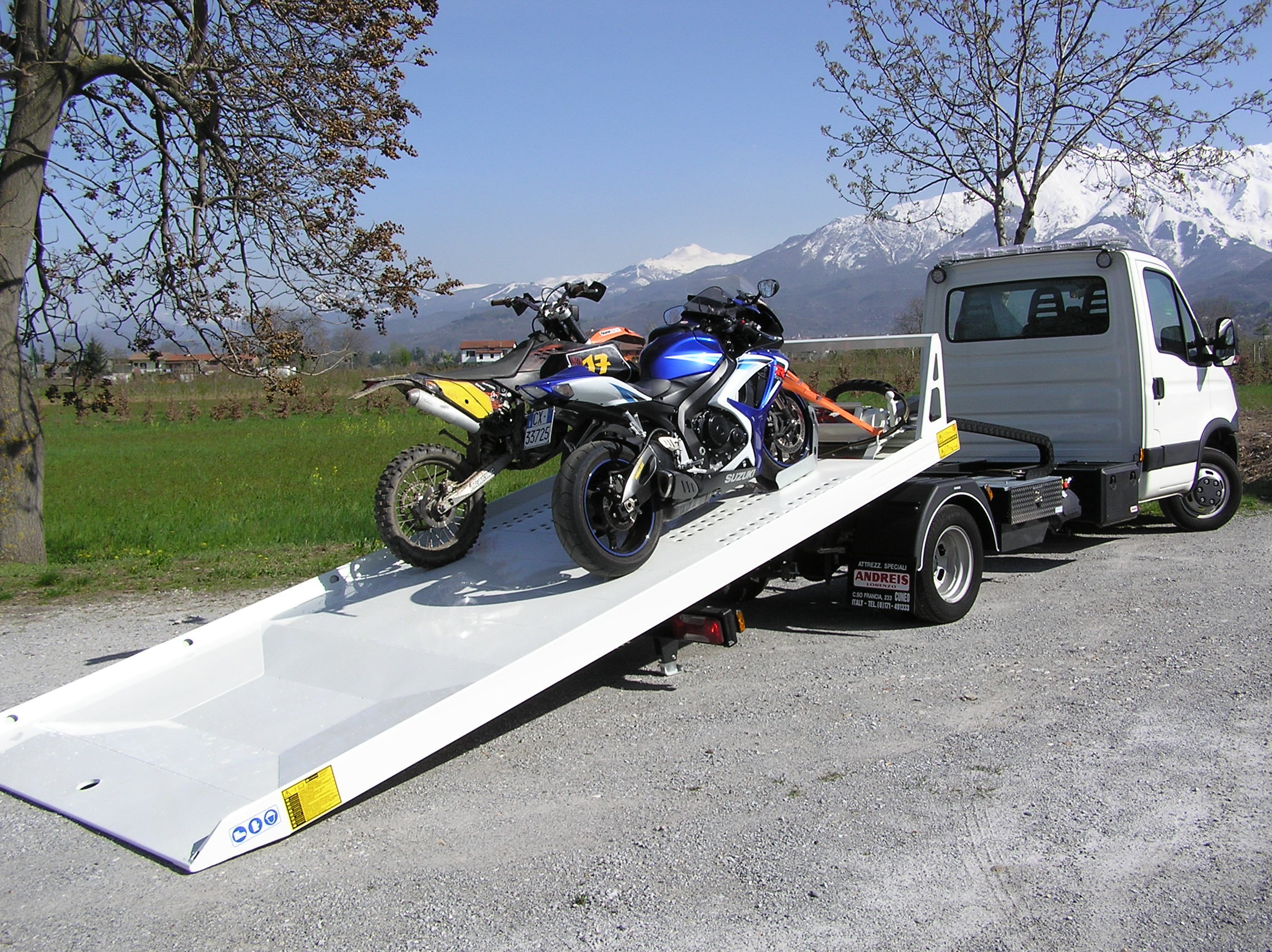 motorcycle flatbed towing